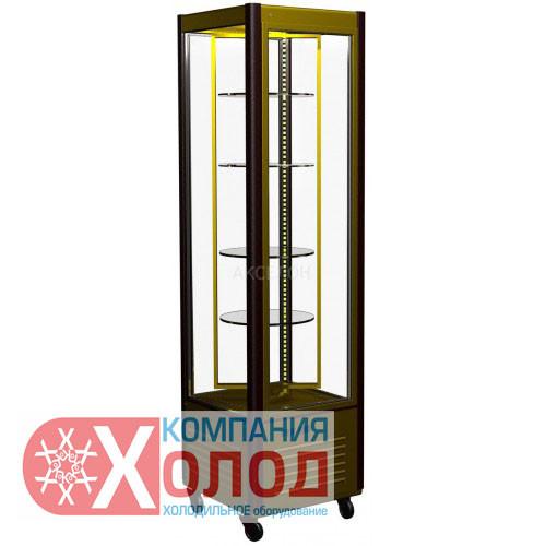Шкаф кондитерский R400Cвр Сarboma Люкс (D4 VM 400-2 (корич-золотой, 1/2, INOX))