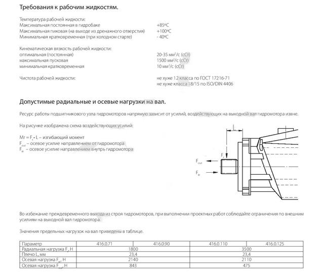 Требования к рабочим жидкостям гидромотора