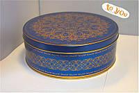 Жестяная банка для конфет Праздничная синяя, 190*76мм