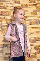 Теплая жилетка на весну для девочки с капюшоном на флисе. Размеры 122-152