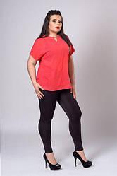 Стильная шифоновая бирюзовая женская блуза увеличенных размеров.