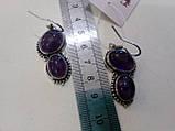 Красиві сережки з натуральним каменем аметист. Сережки з аметистами., фото 3
