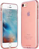 Ультратонкий TPU чехол с заглушками G-Case  для iPhone 7 Transparent Pink