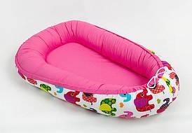 Позиционер двусторонний для новорожденных BabySoon Слоники на розовом
