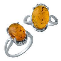 Серебряное кольцо с натуральным янтарем