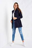 Синее демисезонное пальто из плотного трикотажа