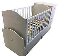 """Детская кроватка-трансформер с комодом, ящиками и маятником 3 в 1 """"Миша со стразами"""" Angel"""