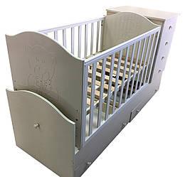 """Детская кроватка трансформер с комодом 3 в 1 """"Миша со стразами"""" слоновая кость Angel baby"""