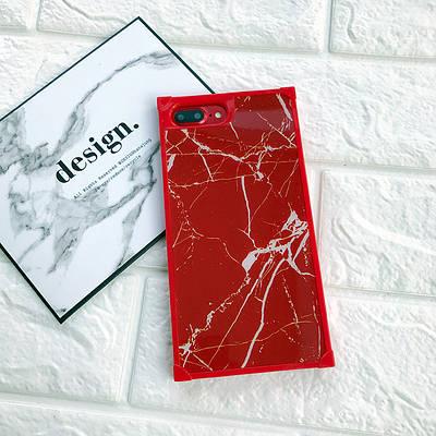 ЧехолнакладканаiPhone 6 Plus/6sPlus мраморныйсмолниейкрасный с белыми полосками