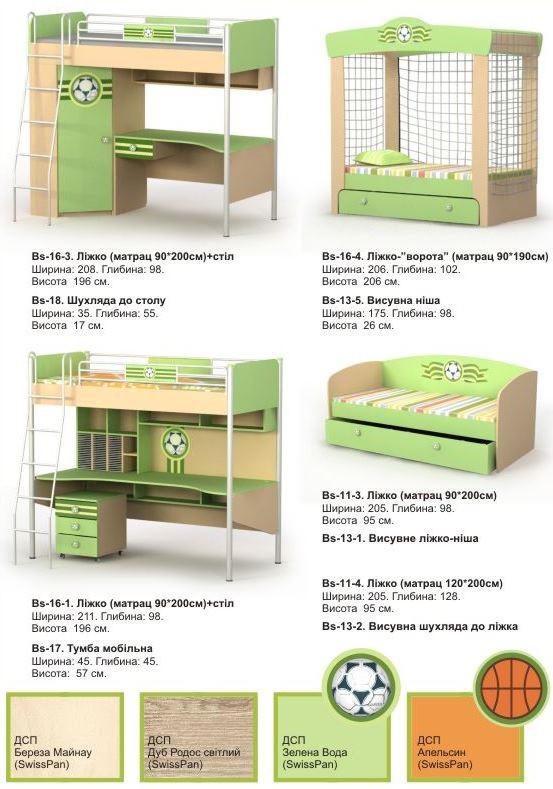 Детская комната Active (ассортимент мебели +цвета ДСП)