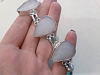 Красивый браслет с халцедоном в серебре. Браслет с камнем халцедон., фото 1
