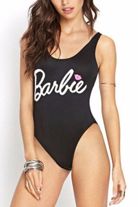Купальник слитный мягкая чашка с вкладышем, бразилиана Barbie чёрный -127-062