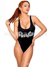 Купальник слитный мягкая чашка с вкладышем, бразилиана Barbie чёрный -127-062, фото 2