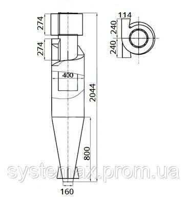 Габаритные и установочные размеры циклона ЦН-15-400х1У