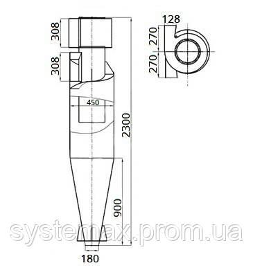 Габаритные и установочные размеры циклона ЦН-15-450х1У