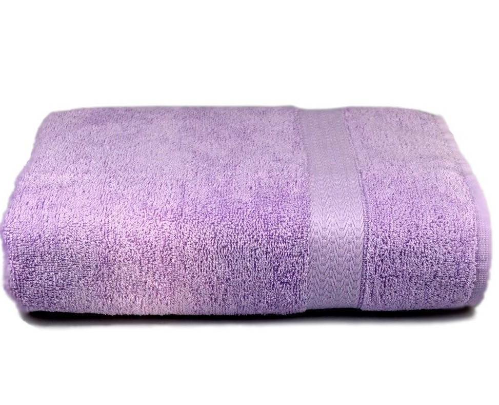 Полотенце махровое с бордюром 70х140 лиловое 350 г/м²