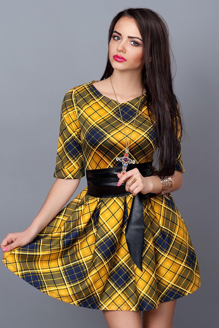 Платье  мод 373-20 размер 46 горчица с синим
