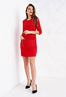 Красное мини-платье с бусинами на карманах