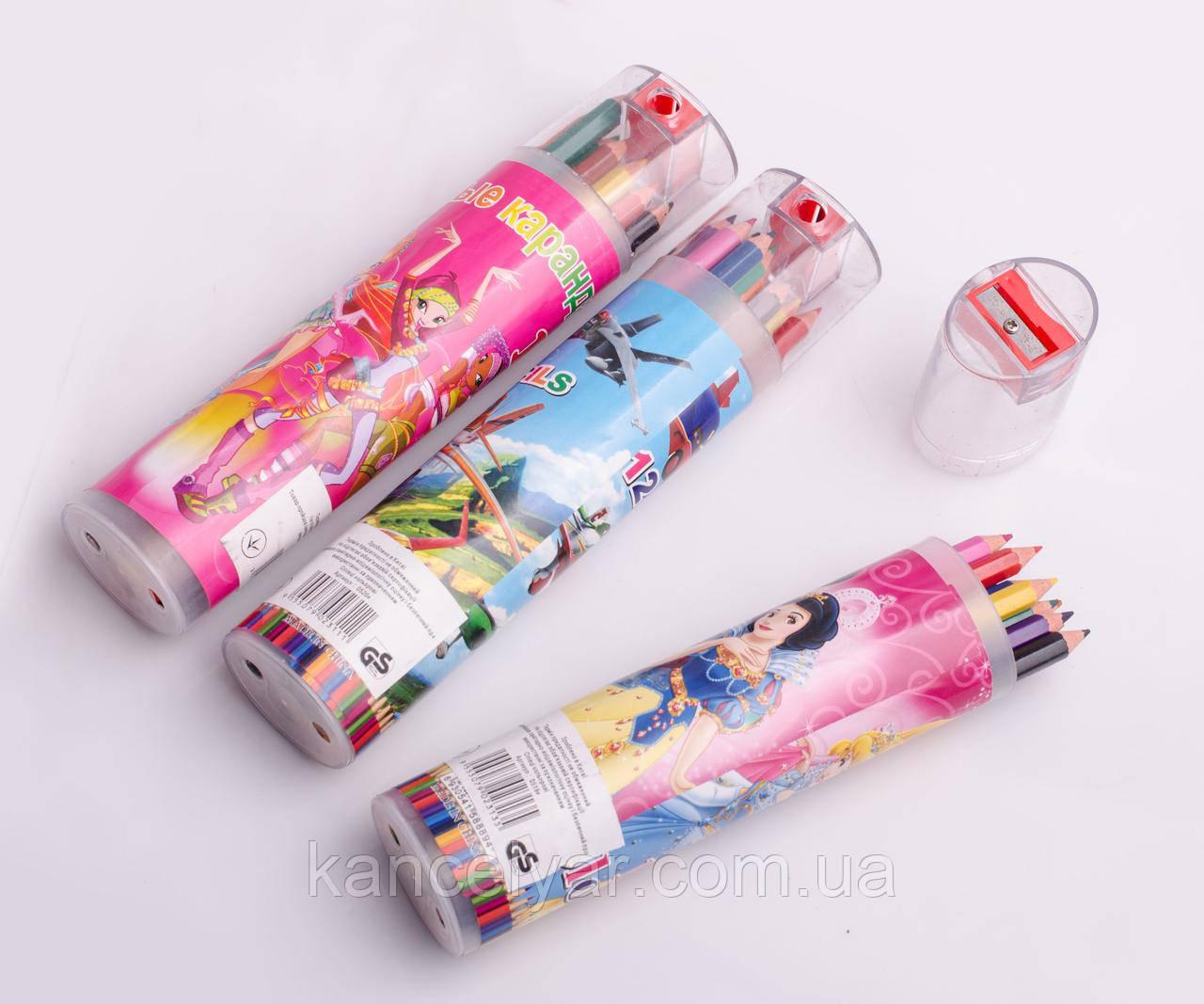 Набір олівців у контейнері: 12 кольорів, точилка, в асортименті