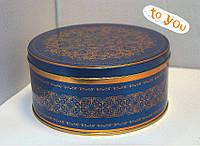 Жестяная банка для конфет Праздничная синяя, 147*70мм