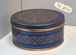 Жестяная банка для конфет Праздничная синяя, 99*180мм