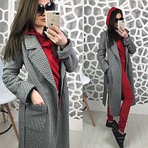 Двубортное демисезонное пальто серого цвета на атласной подкладке со съемным поясом, фото 2