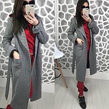 Двубортное демисезонное пальто серого цвета на атласной подкладке со съемным поясом, фото 3