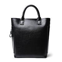 Женская сумка вместительная кожаная черная , фото 1