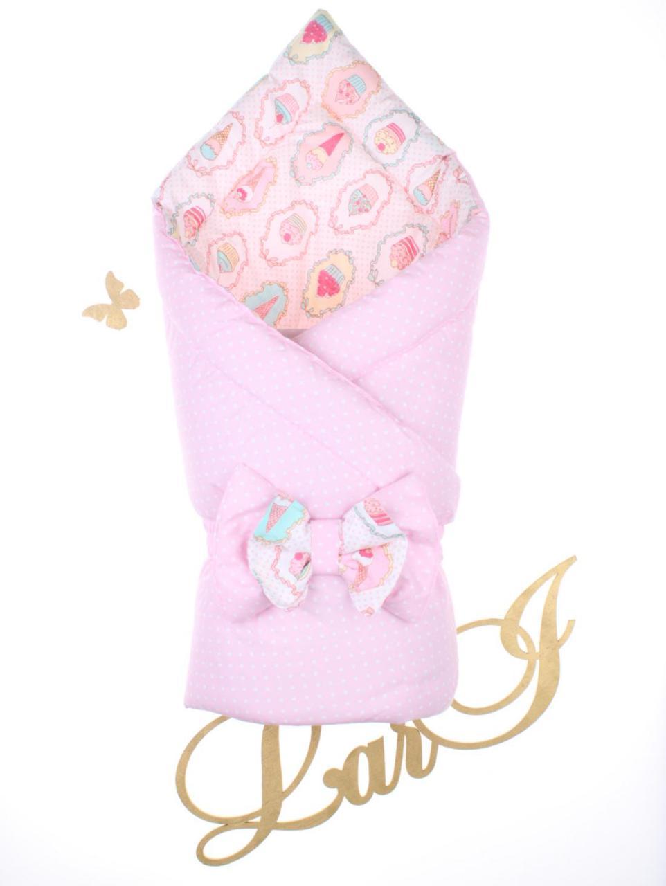 """Демисезонный двухсторонний конверт-одеяло """"Морошка"""", розовый"""