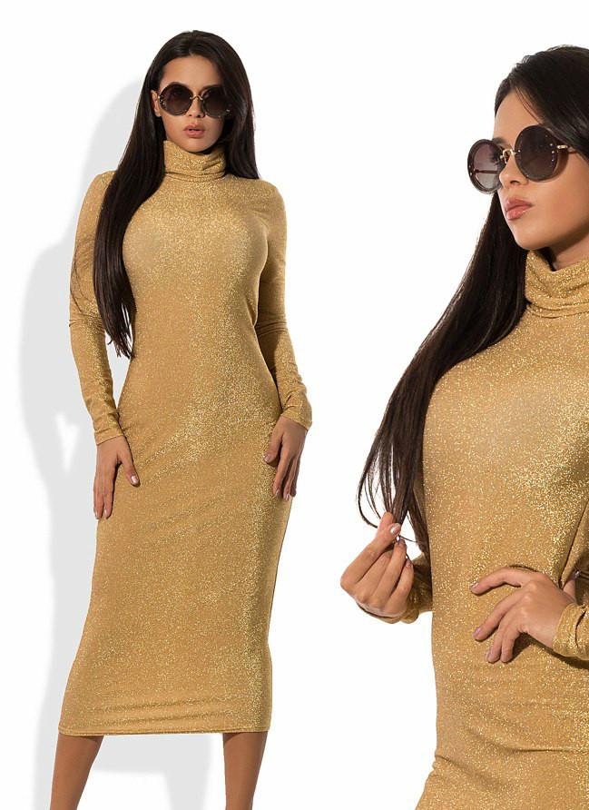 Нарядное платье удлиненное горло стойка люрекс золото
