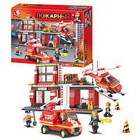 Конструктор SLUBAN M38-B0225 пожежні рятувальники фігурки, транспорт, 371 деталі, в коробці, 42,5-33-7 см