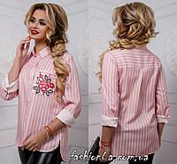 Блуза Рубашка Полосатая Асимметричная из Принтованого Льна +Вышивка Розовая  р. 44 46 48 50 370df275292de