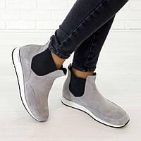 Ботинки из натуральной замши серый, фото 1