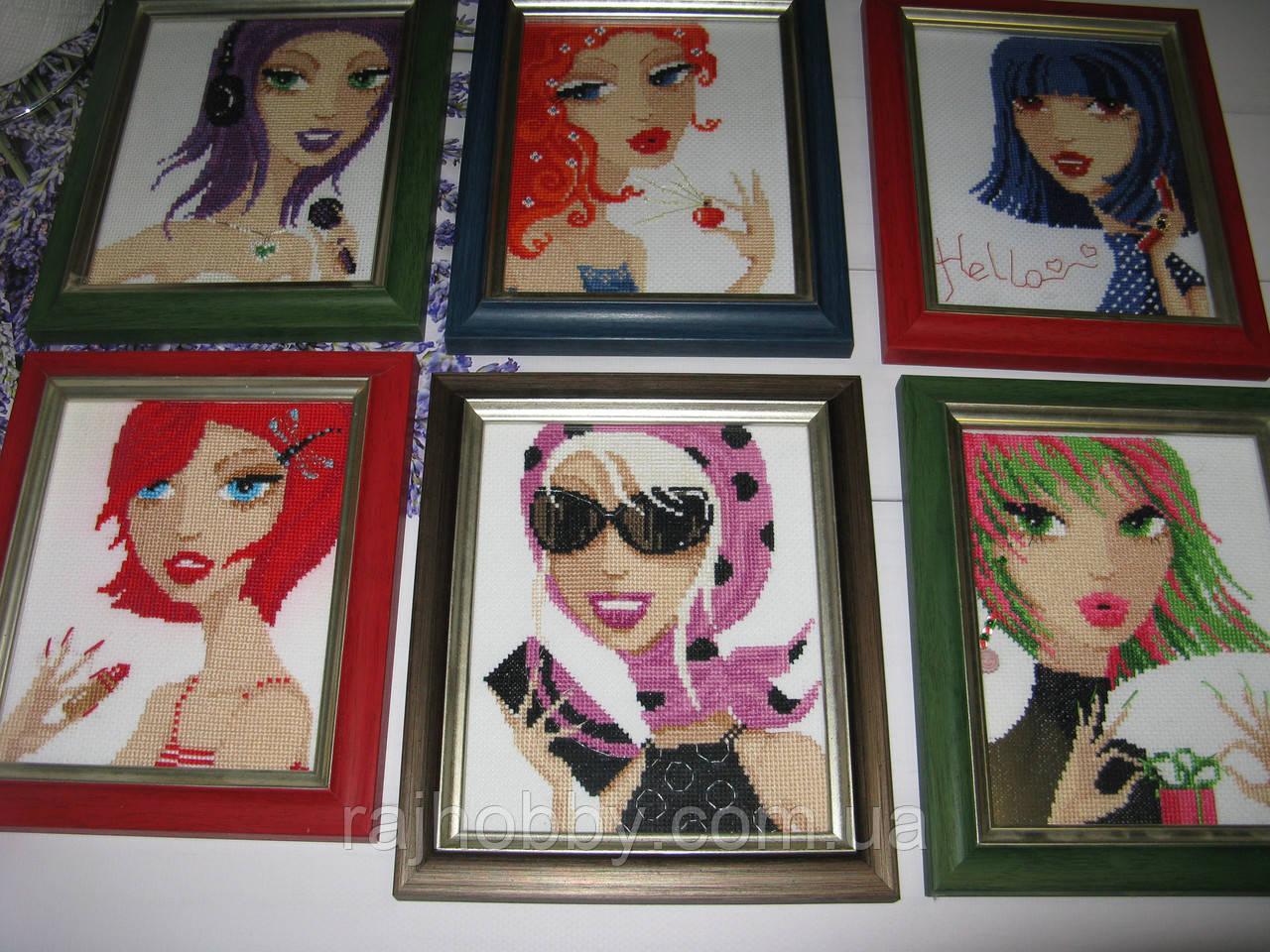 """Набор картин 6 шт Картина вышитая крестиком для девочки  - """"Рай хобби"""" интернет-магазин  в Херсонской области"""