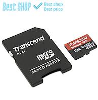 Карта памяти micro SD Transcend 16 GB class 10 + SD adapter