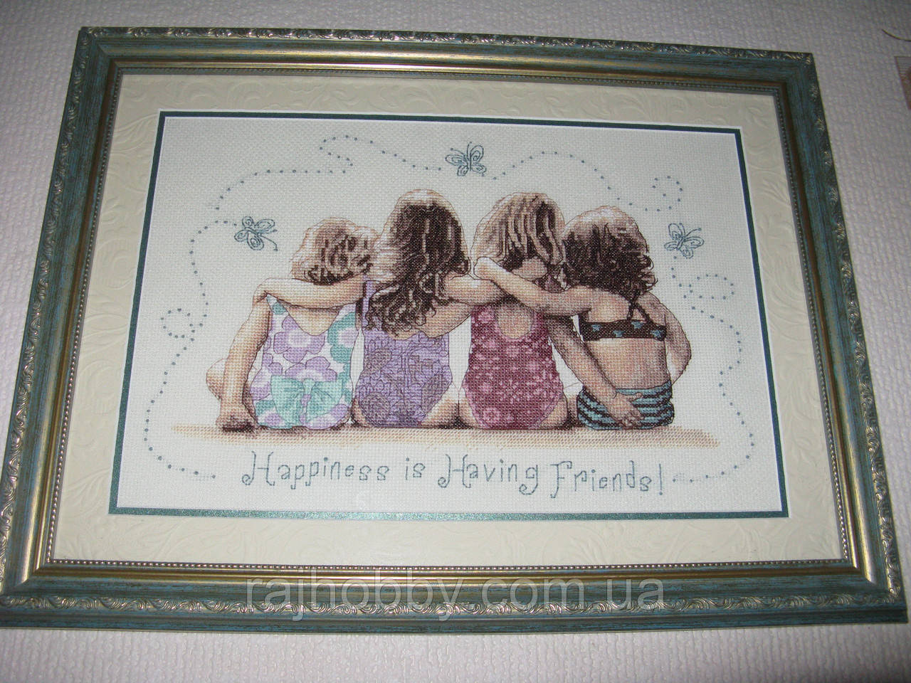 Картина вышитая крестиком Счастье иметь друзей
