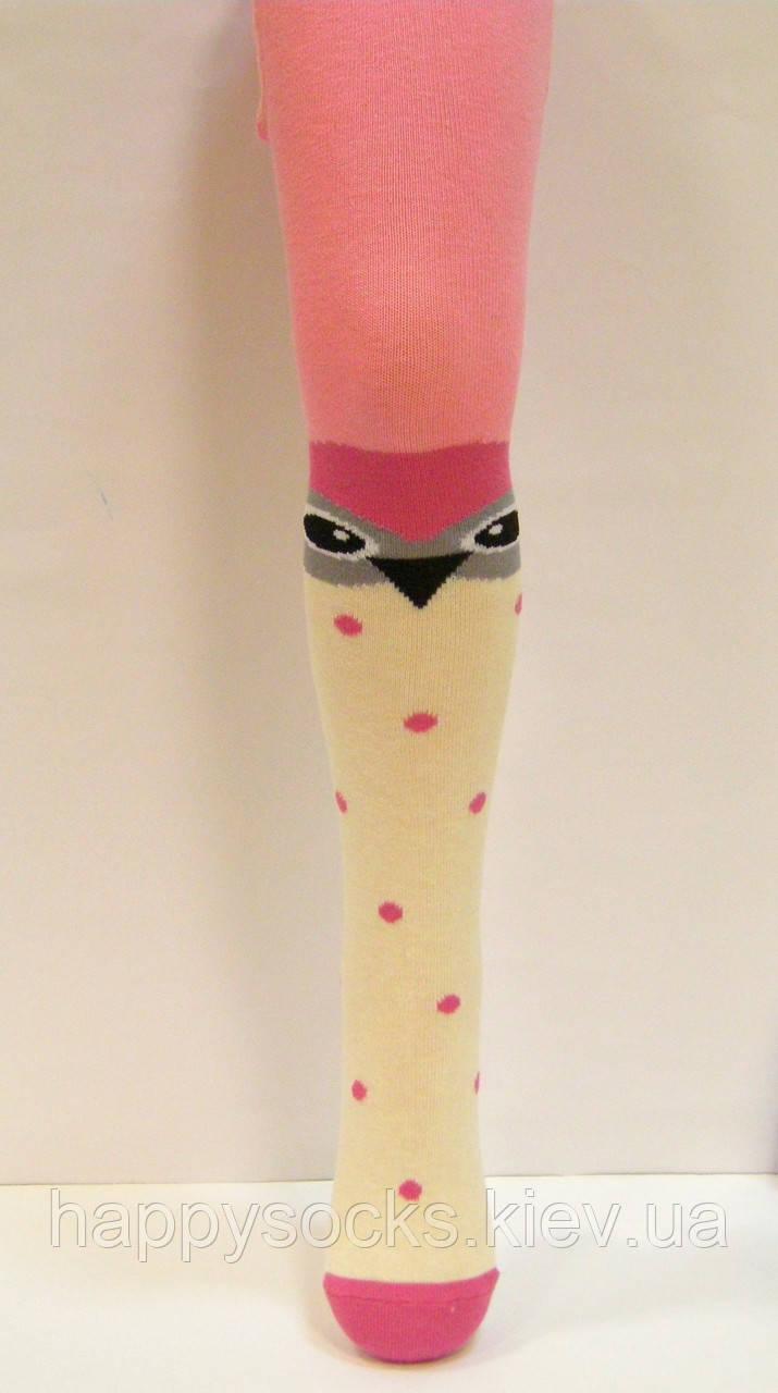 Детские цветные колготки с имитацией чулков сова