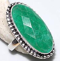 Красивое кольцо с изумрудом в серебре. Изумрудное кольцо. Индия!, фото 1