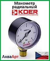 Koer манометр радиальный (нижнее подключение) 502R-6bar D=50мм 1/4''