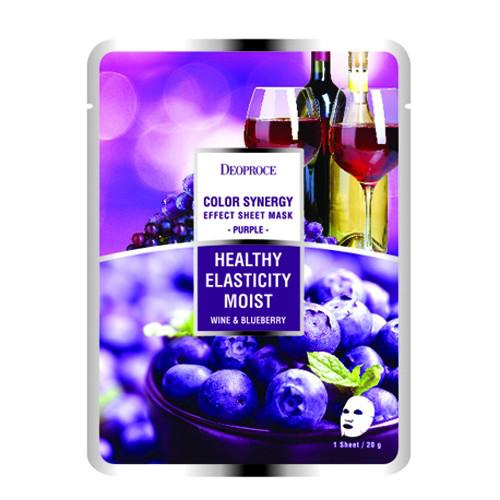 Тканевая маска на основе черники и красного вина Deoproce Color Synergy Effect Sheet Mask Purple