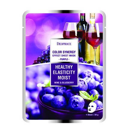 Тканевая маска на основе черники и красного вина Deoproce Color Synergy Effect Sheet Mask Purple, фото 2