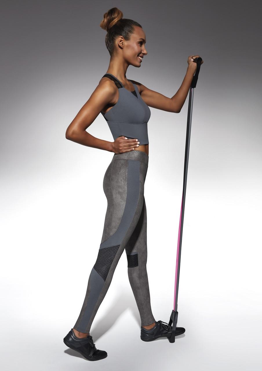 Спортивные женские легинсы BasBlack Flint graphite (original), лосины для бега, фитнеса, спортзала