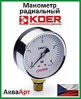 Koer манометр радиальный (нижнее подключение) 610R-4bar D=63мм 1/4''
