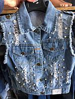 Стильные джинсовая жилетка