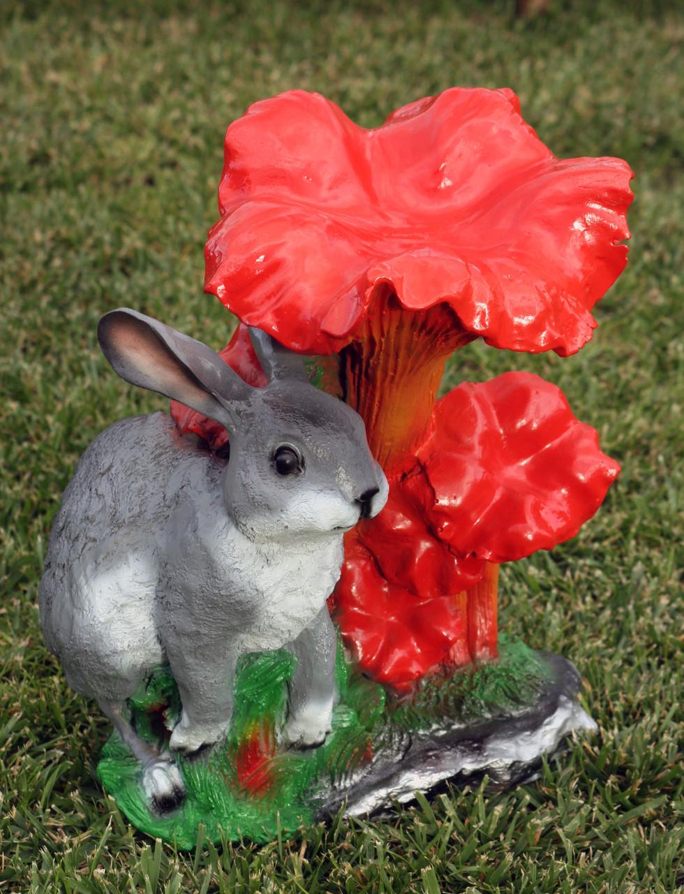 """Садовая фигура """"Гриб лисички с зайцем"""" H-34см"""
