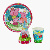 Набор посуды для праздника на 10 персон - Свинка Пеппа