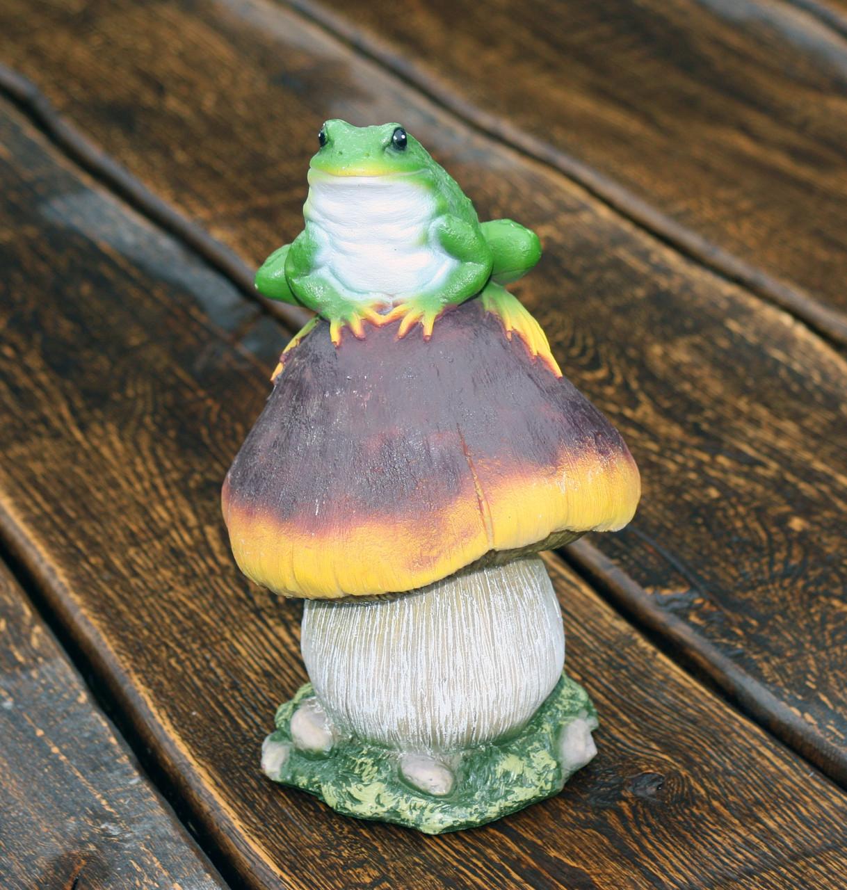 """Садовая фигура """"Сыроежка малая с лягушкой"""" H-23см"""
