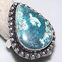 Красивое кольцо с хризоколлой в серебре. Природная хризоколла. Размер 18. Индия!, фото 1