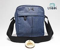 Мужская спортивная сумка мессенджер-планшетка-барсетка UNDER ARMOUR реплика люкс качества cиньо-серая