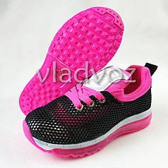 Детские кроссовки для девочки черные с розовым 31р. Clibee